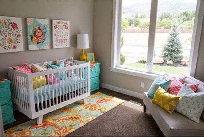 Colorful Floral Prints For Nursery Room